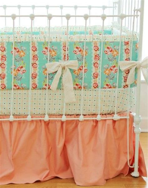 Coral And Mint Crib Bedding by Mint Aqua Coral Baby Bedding Nursery