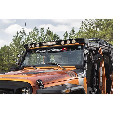 jeep jk light bar rugged ridge 11232 50 elite fasttrack windshield light