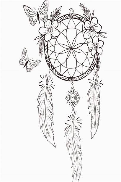 Catcher Dream Drawing Tattoo Coloring Pages Dreamcatcher