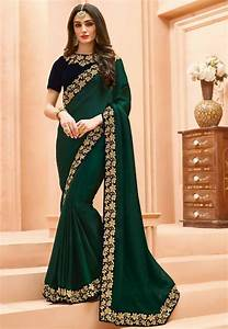 Embroidered Border Crepe Saree In Dark Green   Sew5420