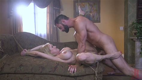 Amazing Busty MILF Brandi Love Is Tied Up Before Being Treated Orally
