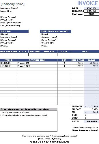 financial templates sales invoice template