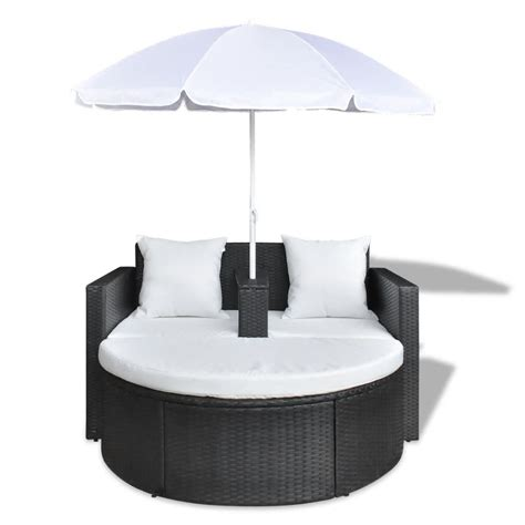 polyrattan lounge set günstig black garden poly rattan lounge set with parasol outdoor vidaxl