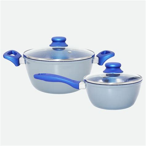 cookware set  piece  stick blue marble ceramic forged