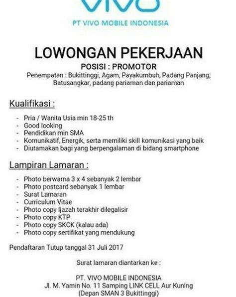 Surat Lamaran Cpns Kemensos 2017 by Lowongan Kerja Pt Vivo Mobile Indonesia Ditutup 31 Juli