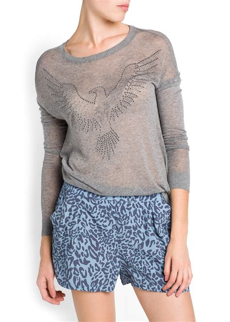 eagle sweater lyst mango strass eagle sweater in black