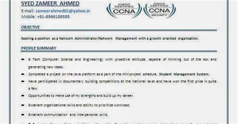 Ccna resume sample for freshers jpg 495x260