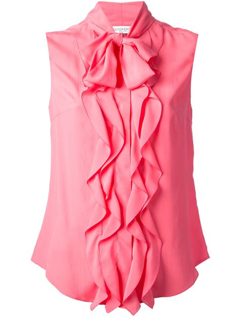 pink blouses viktor rolf ruffled sleeveless blouse in pink pink