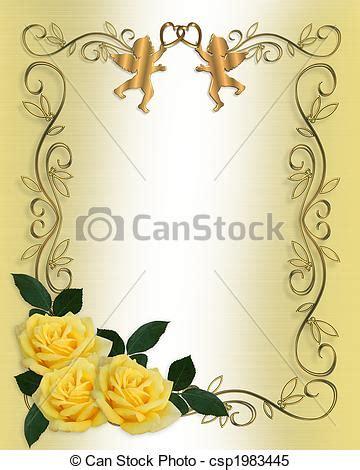 Wedding invitation yellow roses border Image and