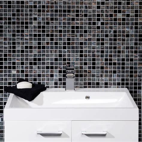 Wandfliesen Bad Mosaik by Solanas Contemporary Black Grey Glass Mosaic Bathroom