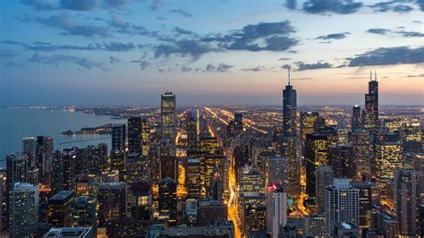 chicago, usa, skyscrapers, night, view from above 4k USA ...