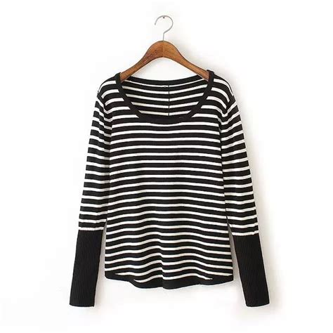 and white striped sweater 6572 bat sleeve striped sweater black and white