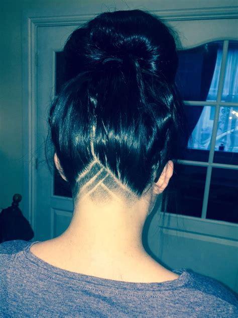 girls undercut hair design traingle section haircuts