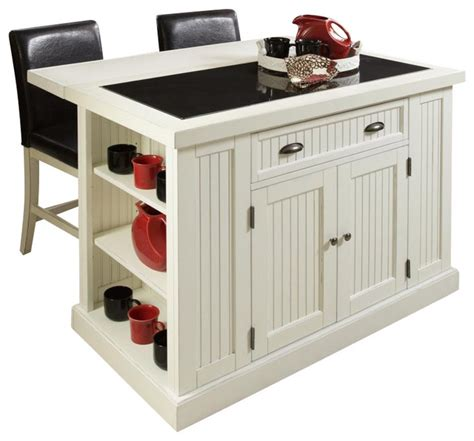 nantucket distressed white finish kitchen island home styles nantucket island and two stools in distressed 8954