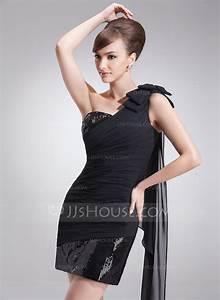 forme fourreau encolure asymetrique court mini mousseline With robe de cocktail combiné avec bracelet ruban message