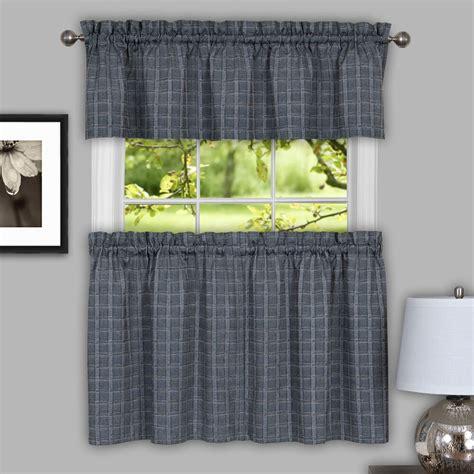 Grey Window Valances by Sydney Plaid Decorative Gray Kitchen Window Curtain Tiers