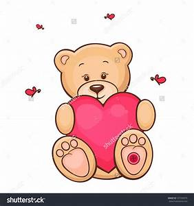 Drawn teddy bear heart drawing - Pencil and in color drawn ...