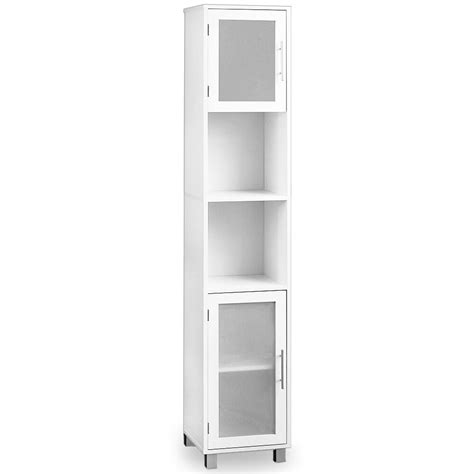 White Storage Cupboard With Doors by Bathroom Cabinet White With Satinised Glass Doors