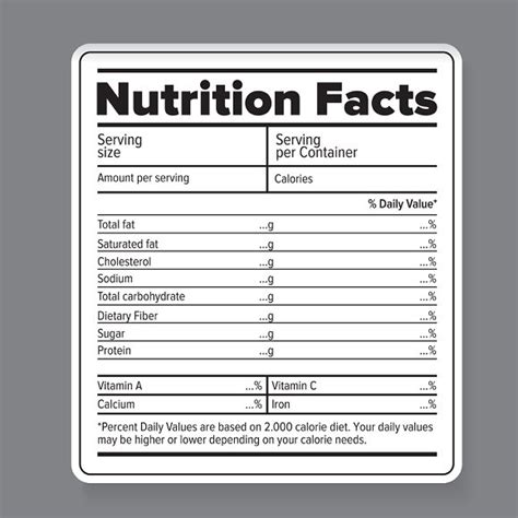 nutrition label template word printable label templates