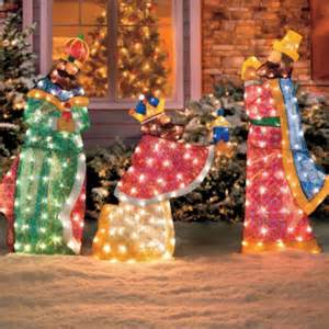 3 pc set outdoor lighted holy wisemen nativity scene