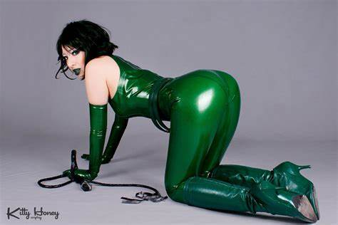 Jerking In Green Latex Unitard Madame Hydra Rear Style