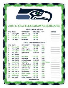Seattle Seahawks 2016 2017 Schedule Printable