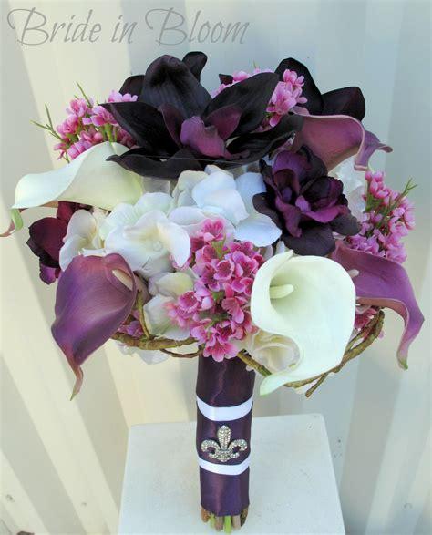 plum lavender wedding bouquet calla lily orchid silk
