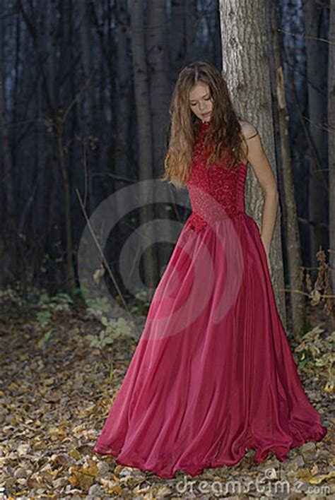 girl leaning  tree  forest royalty  stock