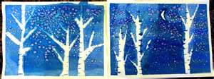watercolor winter trees happiness is
