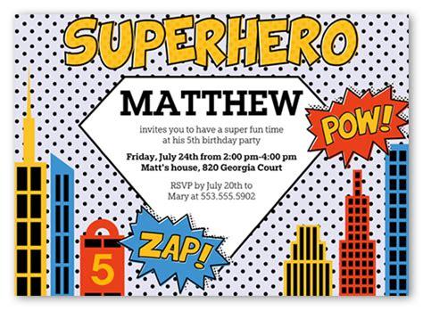 superhero  invite boy birthday invitations shutterfly