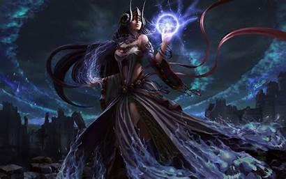 Sorcerer Wizard Female Dark Magic Occult Witch