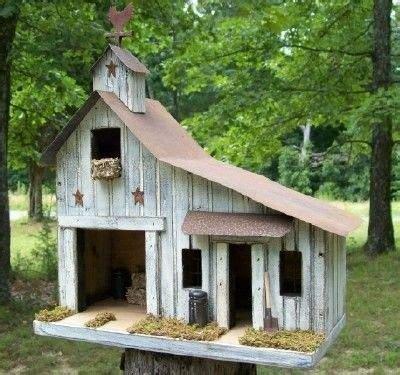 Primitive Saltbox Folk Art Rooster Barn Birdhouse