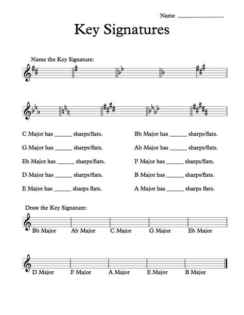 Free Key Signatures Worksheet  Music Worksheets  Pinterest  Worksheets, Music Worksheets And