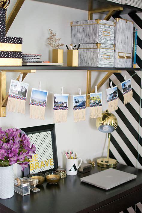 black and gold desk accessories diy fringe photo garland pbteen blog