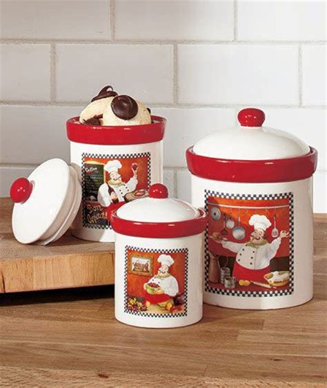 Fat Chef Canisters Set Italian Bistro Cookie Jars Set Red