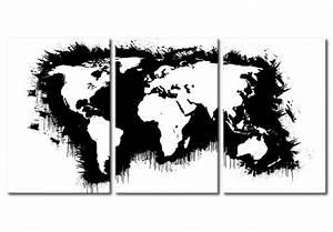 Carte Du Monde Noir : toile murale carte du monde en noir et blanc cartes du ~ Teatrodelosmanantiales.com Idées de Décoration