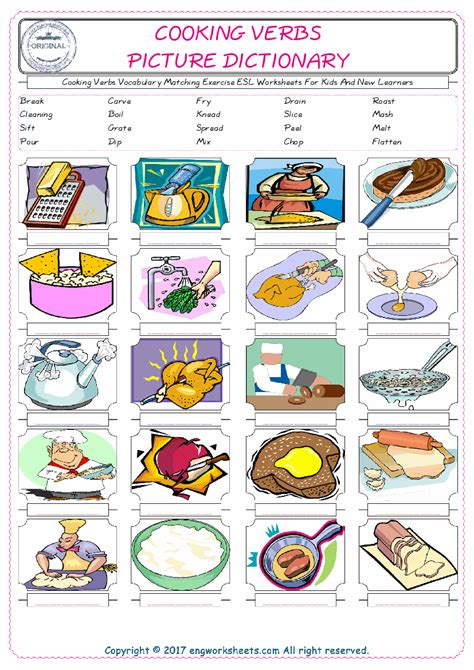cooking verbs esl printable english vocabulary worksheets