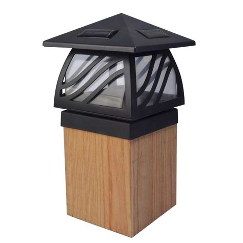 solar led outdoor l post moonrays 1 light black outdoor led solar powered post cap