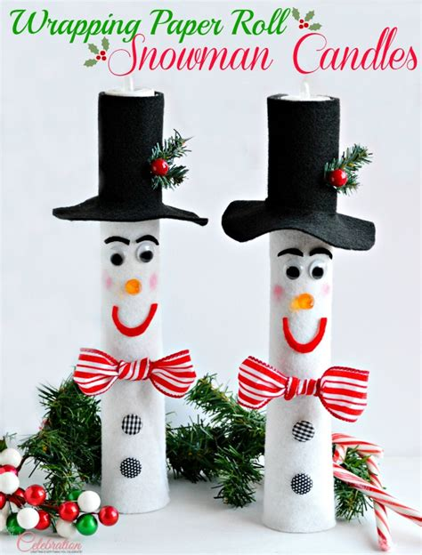 wrapping paper roll snowman candles