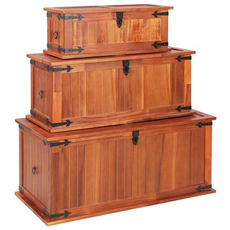 Explore 105 listings for storage chest coffee table at best prices. 3 pcs Storage Chests Treasure Trunk Solid Acacia Wood Coffee Table Bench Box UK | eBay