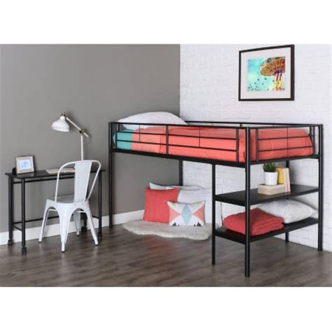 walker edison twin metal loft bed with desk and shelving