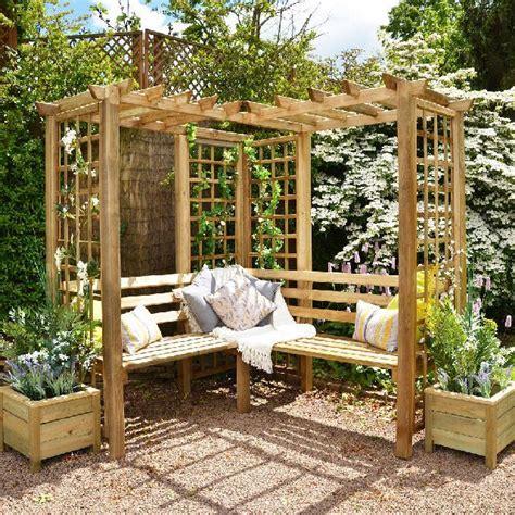 Forest Sorrento Corner Arbour Seat   elbec garden buildings