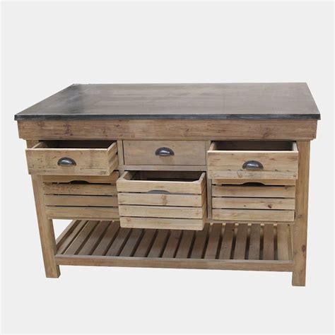 meuble bois cuisine ilot central bois massif avec plateau en bleue