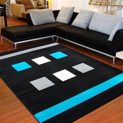 rideau cuisine gris tapis moderne à carreaux noir turquoise 120 x 160 cm