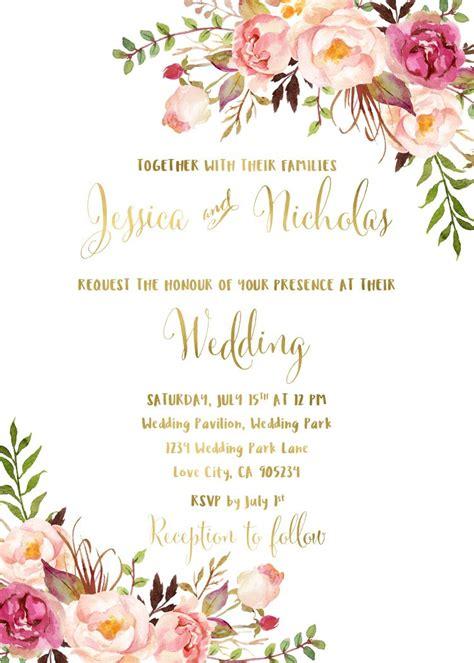 floral wedding invitation suite printable boho