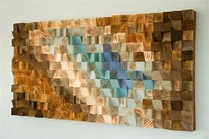 Modern Wood wall Art, wood mosaic, geometric art – Art Glamour