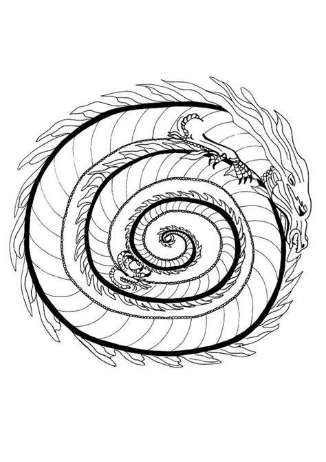 printable mandala coloring pages fire dragon