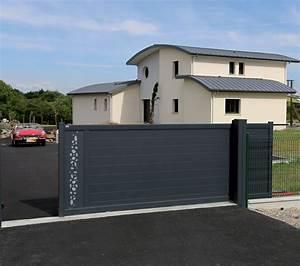 Portail Alu Coulissant 4m : portail coulissant ecume by bel 39 m avec d cor et vitrage ~ Dailycaller-alerts.com Idées de Décoration