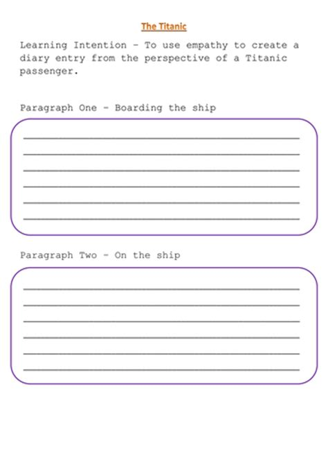 diary writing template ks1 titanic diary lesson by uk teaching resources tes