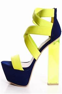 NEON YELLOW LYCRA CRISSCROSS STRAP CLEAR ABSTRACT HEELS